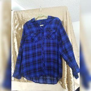 Torrid rayon electric blue plaid camp shirt